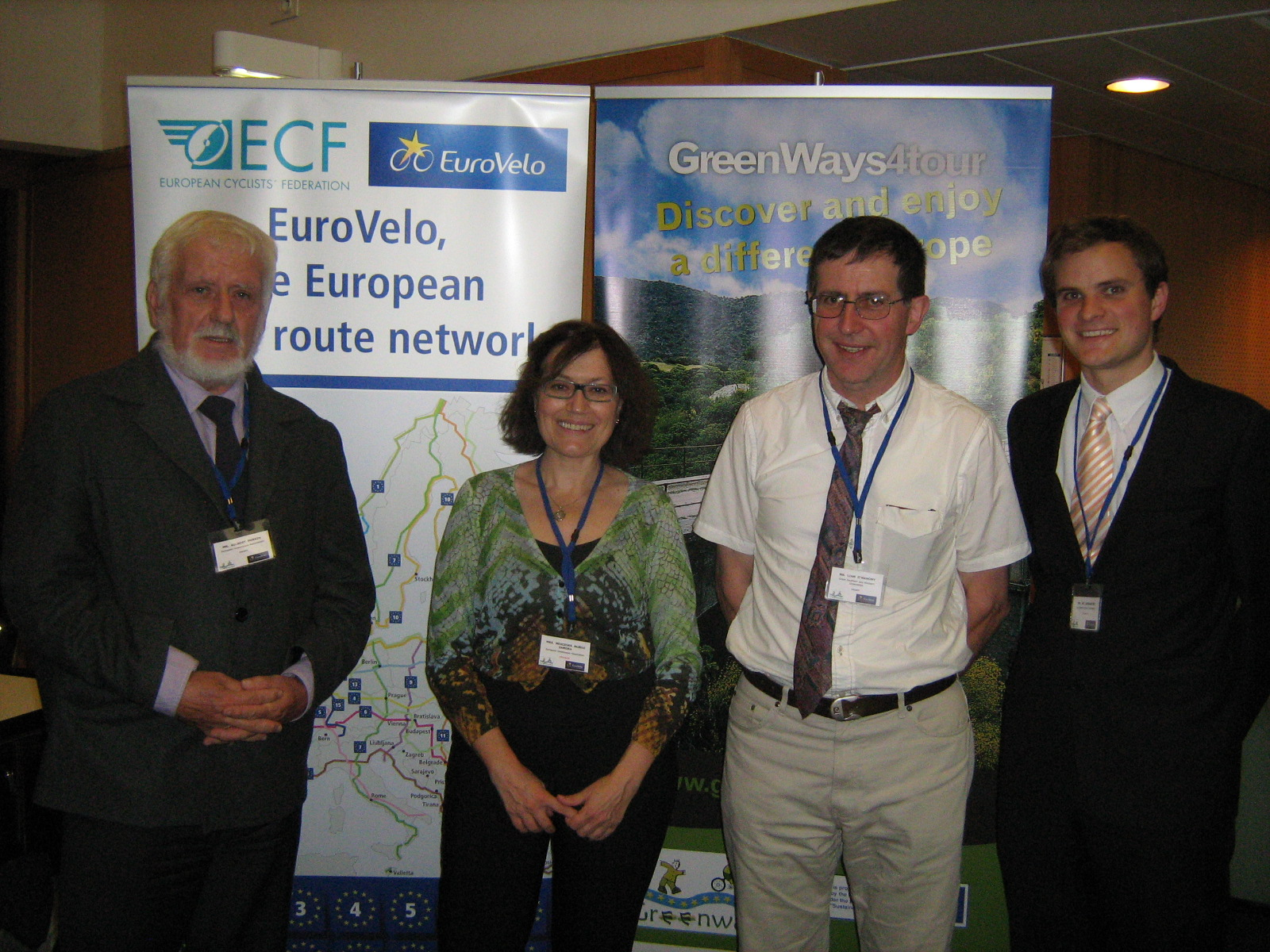 PHOTO CAPTION: At the Joint Conference of the European Cycling Federation( ECF) and the European Greenways Association(EGWA) held in the city of Nantes, France on Wednesday Sept. 26th 2012 were L.to R. M.Gilbert Perrin (Belgium), President, EGWA; Ms.Mercedes Munoz (Spain), Director, EGWA; Mr.Liam O'Mahony (Ireland), Cathaoirleach, Great Southern Trail and Mr. Ed. Lancaster (England), Regional Policy & Cycling Tourism Officer, ECF